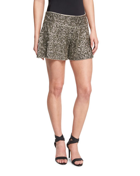 Marisa Beaded Flutter Shorts, Gunmetal