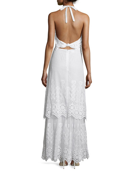 Edna Crocheted-Lace Halter Maxi Dress