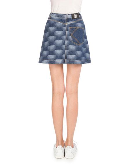 Kenzo Nagai Star Denim A-Line Skirt, Navy Blue