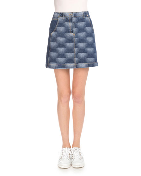 Nagai Star Denim A-Line Skirt, Navy Blue