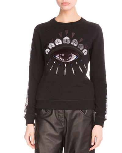 Embroidered Nagai Eye Sweatshirt, Black