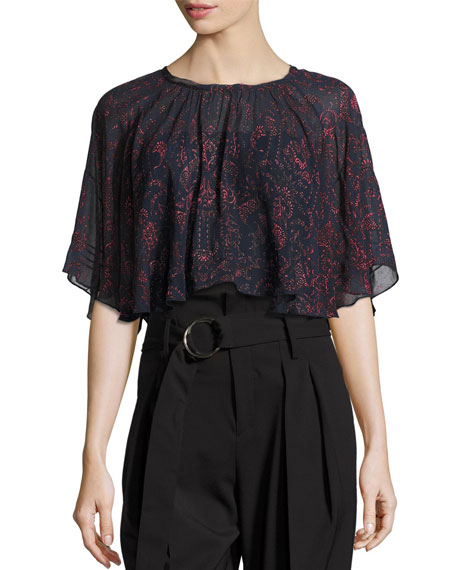 Anida Floral Voile Top, Dark Navy/Red