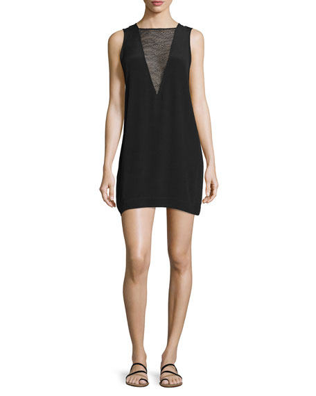 Iro Maelie Sleeveless Lace-Trim Mini Dress, Black