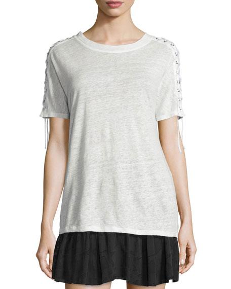 Steiro Laced-Sleeve Linen Jersey Tee, Ecru