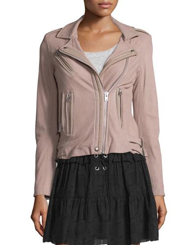Han Jersey-Knit Motorcycle Jacket, Pink