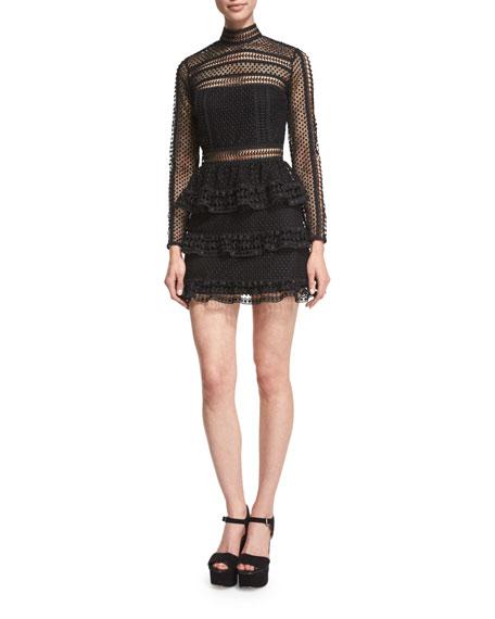 ab17a0e27eda6 Self-Portrait Long-Sleeve Tiered Lace Mini Dress, Black