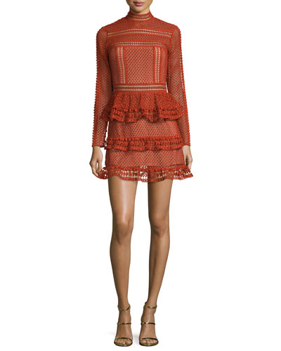 Long-Sleeve Tiered Lace Mini Dress, Crimson