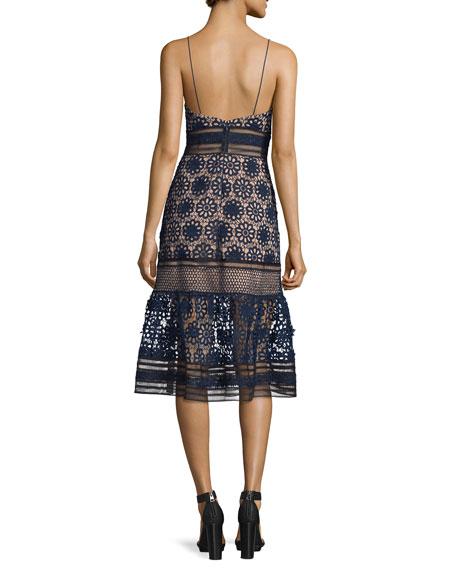 Sleeveless Mixed-Lace Midi Dress, Navy/Black/Nude