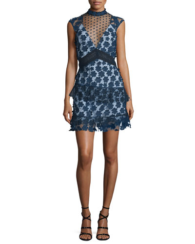 Sleeveless Tiered Lace Mini Dress, Navy