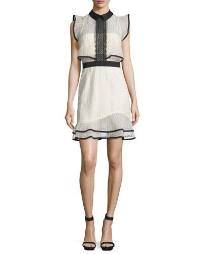 Sleeveless Lace Popover Mini Dress, White/Black