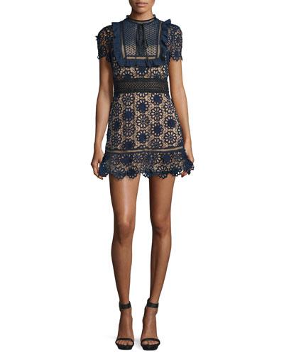 Louisa Lace Mini Dress, Navy/Nude/Black