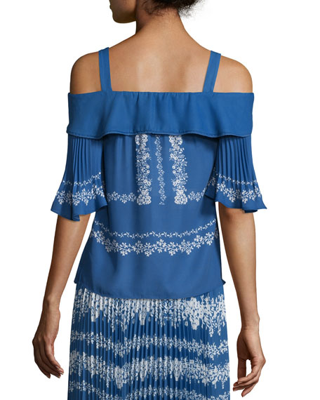 Chiffon Flower Spell Cold-Shoulder Top, Cobalt Blue/Cream