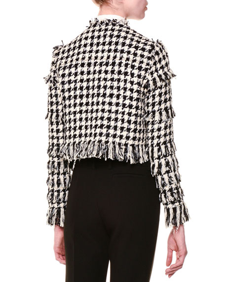 Tweed Houndstooth Jacket, Black/White