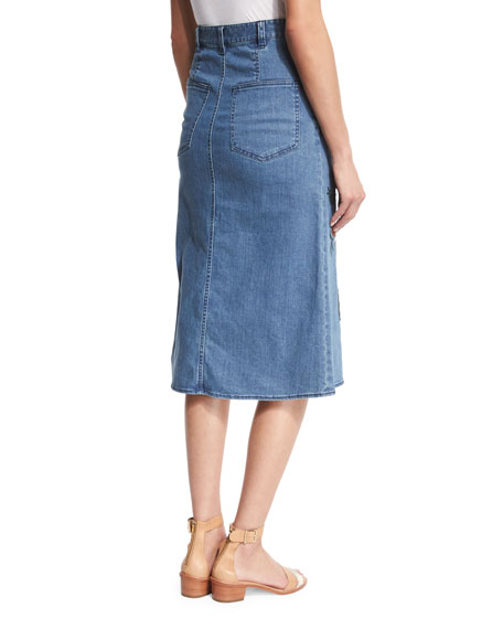 Marisol Embroidered Denim Midi Skirt, Vinde
