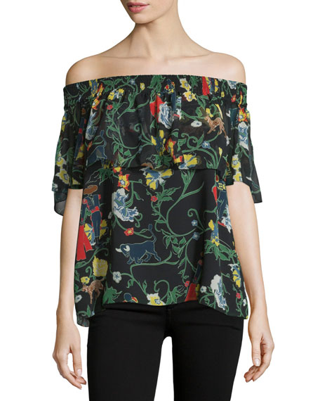Printed Silk Off-the-Shoulder Popover Top, Blamu