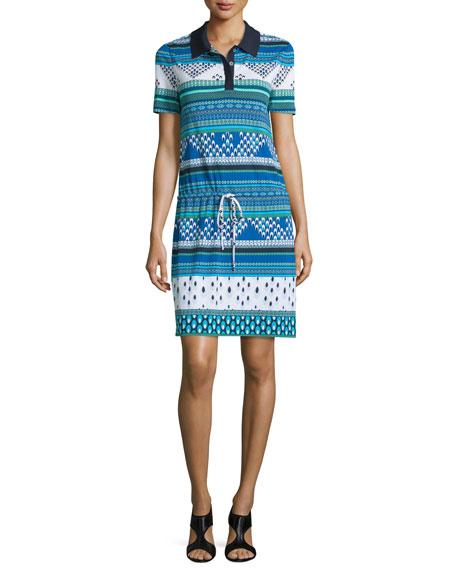 Diane von Furstenberg Kassie Printed Short-Sleeve Polo Dress