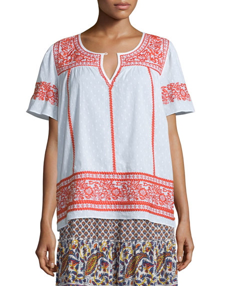 Vinduri Short-Sleeve Embroidered Top, Coconut