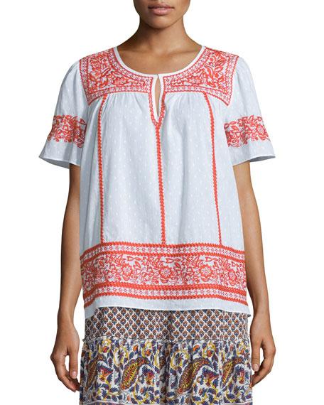 Vinduri Short-Sleeve Embroidered Top, Coconut