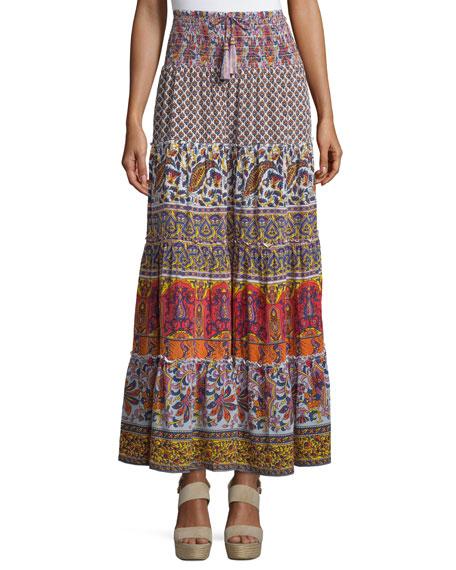 Calypso St Barth Denueve Mixed-Print Maxi Skirt, Saigon