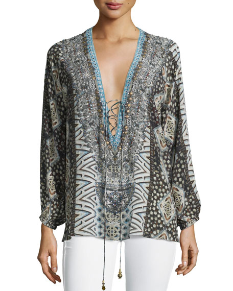 Embellished Lace-Up Silk Top, Imperial Echo
