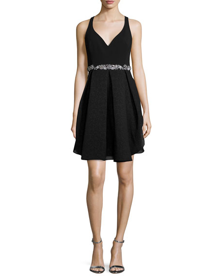 Marchesa Notte Embellished-Waist Tulip Cocktail Dress, Black