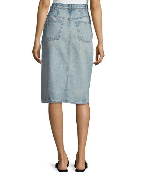 Faded Denim Pencil Skirt, Light Blue