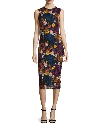 Nat Sleeveless Embroidered Midi Dress, Multicolor