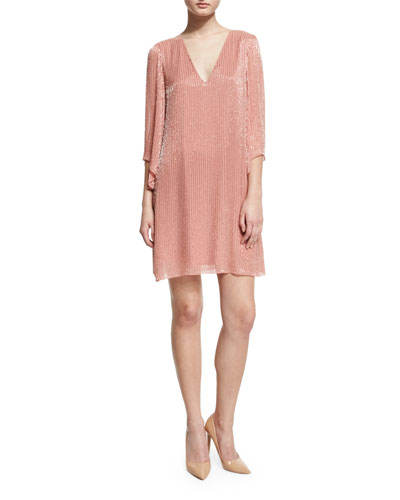 Tammin 3/4-Sleeve Embellished V-Neck Caftan, Pink