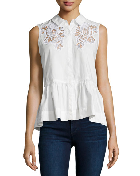 Embroidered Sleeveless Peplum Top