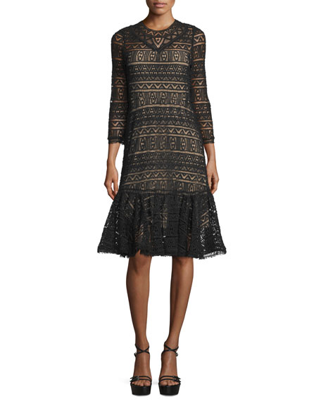3/4-Sleeve Lace Sheath Dress, Black
