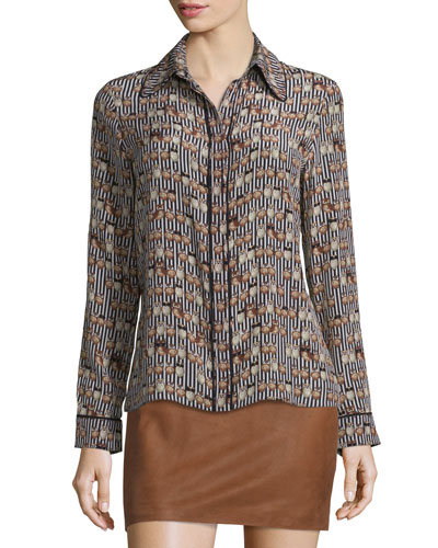 Alfie Long-Sleeve Silk Owl Blouse, Multicolor