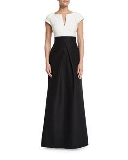 Short-Sleeve Combo Full-Skirt Gown, Black/Chalk