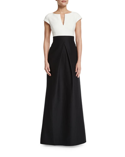 Short-Sleeve Combo Full-Skirt Gown, Black/Chalk