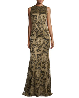 Roxie Floral-Lace Diamond-Back Gown, Bronze