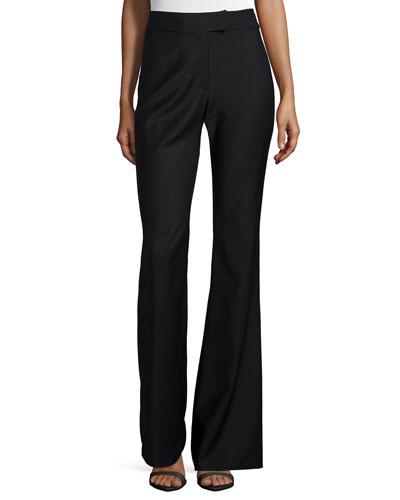 High-Waist Flare Pants, Black