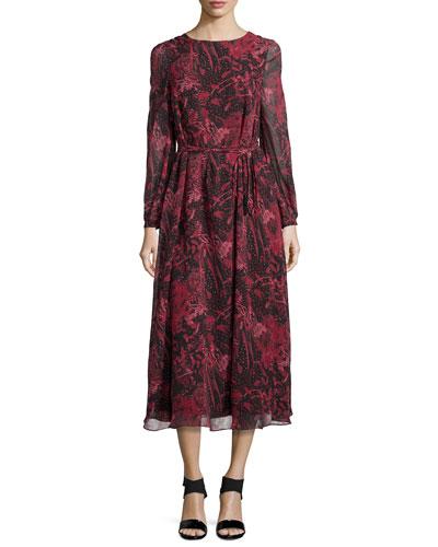 Aby Floral-Print Silk V-Back Midi Dress, Black/Red