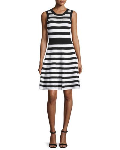 Striped Pointelle A-Line Dress, Black/White
