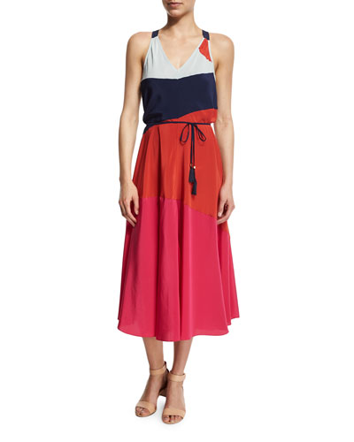 Marguerite Colorblock Silk Dress