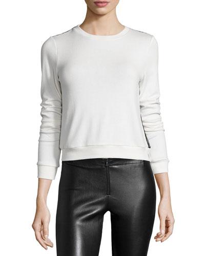 Lace-Trim Pullover Sweater, Cream