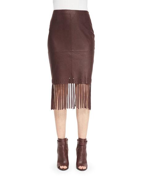 Elizabeth and James Jaxson Leather Skirt W/Fringe, Brown