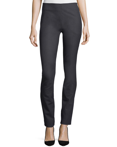 Side-Zip Straight-Leg Pants, Steel