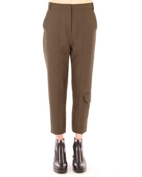 Sleek Cropped Cargo Pants, Lichen