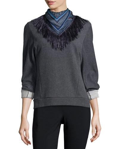 Sweatshirt with Detachable Scarf, Gray
