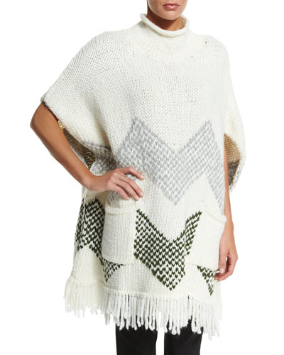 Short-Sleeve Chevron Poncho, Ivory/Gray