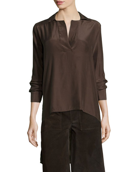FRAME Le High-Low Popover Tunic, Coffee Bean