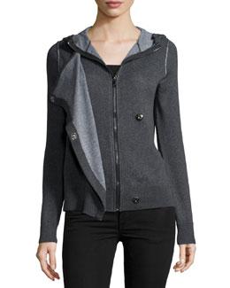 Long-Sleeve Hooded Sweatshirt, Charcoal/Heather Gray