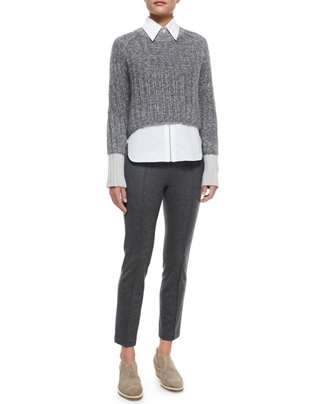 Polly Cropped Wool Pants, Charcoal