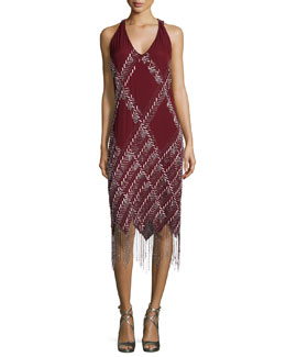 Sleeveless Embellished-Argyle Dress, Merlot