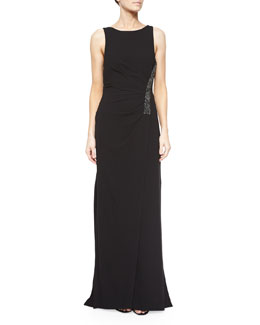 Ruched Sleeveless Gown w/ Rhinestones, Black