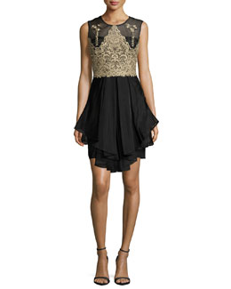 Sleeveless Embroidered Bodice Ruffled Cocktail Dress